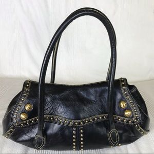Maxx New York Vegan Leather Studded Shoulder Bag